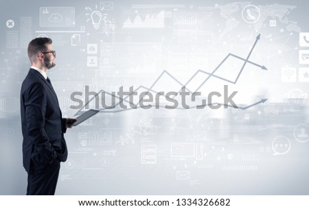 Adviser standing and presenting economical results of a global company #1334326682