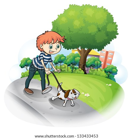 Illustration of a boy walking with his dog along the street on a white background
