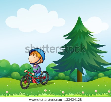 Illustration of a boy with a safety helmet riding in his bike