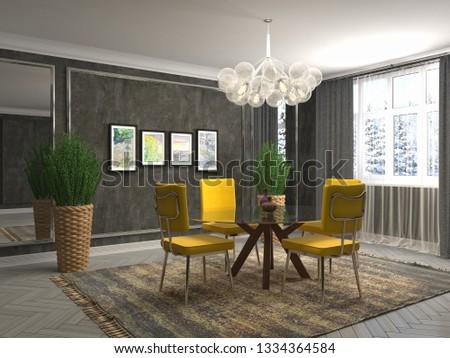 Interior dining area. 3d illustration #1334364584