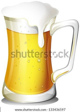Illustration of a mug full of cold beer on a white background