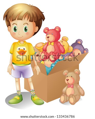 Illustration of a boy beside a box of toys on a white background
