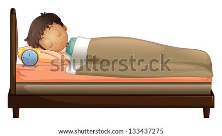 Illustration of a boy sleeping with an alarm clock on a white background