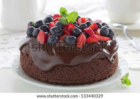 Chocolate cake with summer berries. #133440329