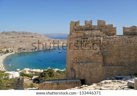 Linods Acropolis on Rhodos Ancient Archeological site, Greece #133446371