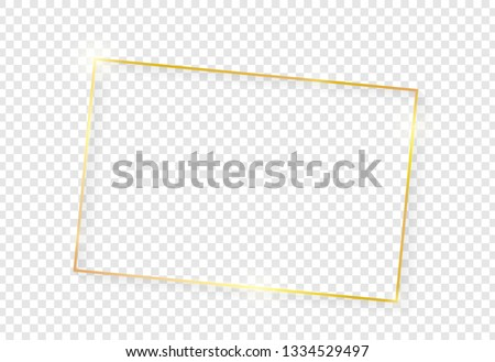 Gold shiny glowing vintage frame with shadows isolated on transparent background. Golden luxury realistic rectangle border. Vector #1334529497