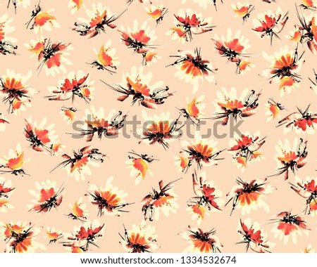 Watercolor floral pattern. Delicate flowers for textile print. #1334532674