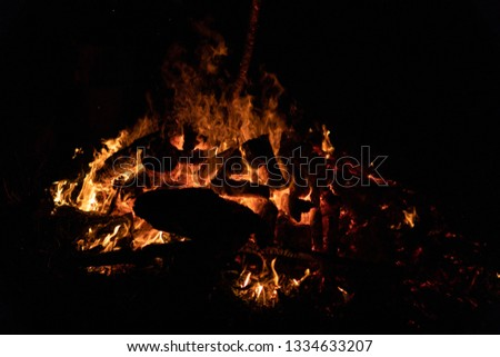 Night campfire with available space at left side. #1334633207