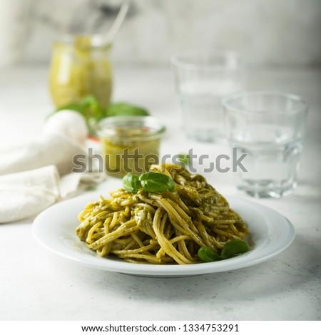 Pasta with pesto sauce #1334753291