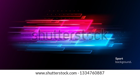 Modern abstract sport background. Trendy geometric neon collage for speed movement. Night race advertising. Dynamic cover or colourful layout for sport event. Banner or poster for motion #1334760887