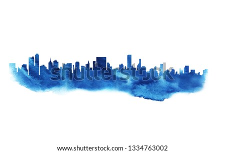 Modern cityscape blue water color drawing. Metropolis architecture panoramic landscape. New York skyscrapers hand drawn watercolor silhouette. Apartment buildings double exposure illustration