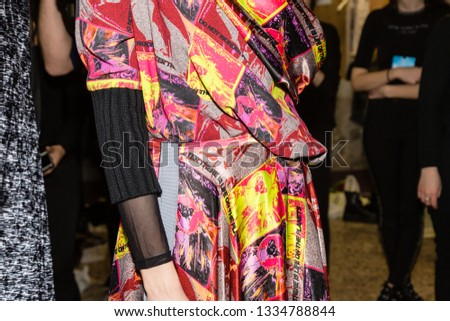 MILAN, ITALY - FEBRUARY 22: Gorgeous model poses in the backstage just before Francesca Liberatore show during Milan Women's Fashion Week on FEBRUARY 22, 2019 in Milan. #1334788844