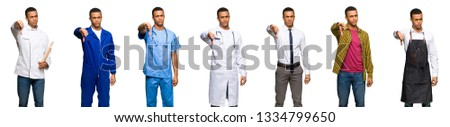 Set of doctor, barber and businessman showing thumb down sign with negative expression #1334799650