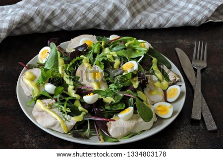 Healthy fitness salad with quail eggs and chicken breast. Keto diet. Paleo diet. Pegan diet. #1334803178