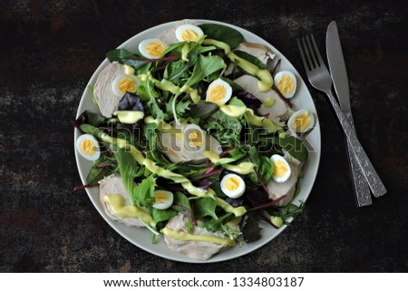Healthy fitness salad with quail eggs and chicken breast. Keto diet. Paleo diet. Pegan diet. #1334803187