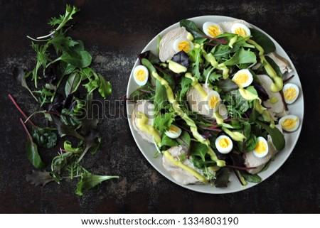 Healthy fitness salad with quail eggs and chicken breast. Keto diet. Paleo diet. Pegan diet. #1334803190