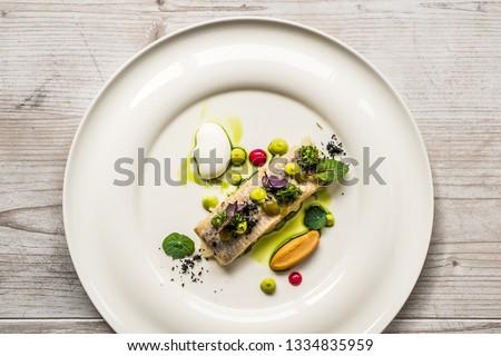 plate dish fish gourmet restaurant food #1334835959