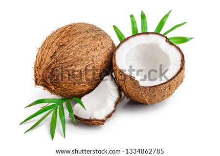 coconut with leaves isolated on white background #1334862785