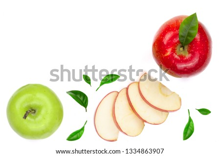 red and green apples with slices and leaves isolated on white background with copy space for your text, top view #1334863907
