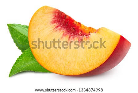 Peach with leaf. Peach fruits isolated on white background. Peach Clipping Path. Professional studio macro shooting #1334874998