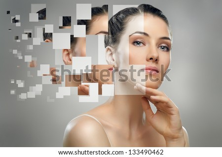 a beauty girl on the grey background #133490462