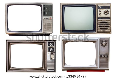 set of old retro color bronze  and wooden home TV receiver isolated on white background,mix vintage television #1334934797
