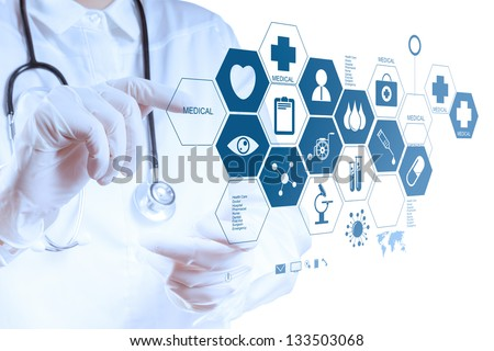 Medicine doctor hand working with modern computer interface as medical concept Royalty-Free Stock Photo #133503068