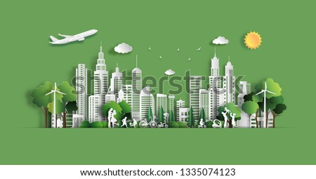 Paper art style of landscape with eco green city, people enjoy activities outdoor, save the planet and energy concept, paper cut and craft style, flat-style vector illustration. #1335074123