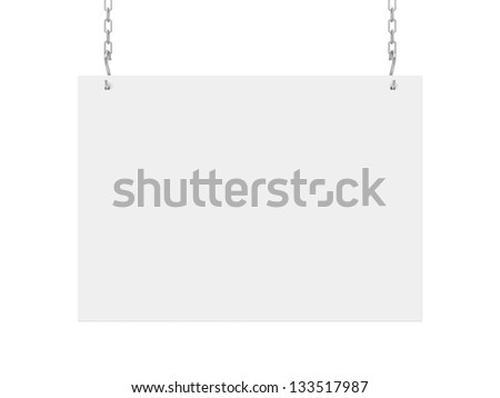 white poster hanging on chain on wall
