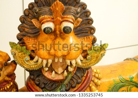 tiger face antique sculpture front view #1335253745