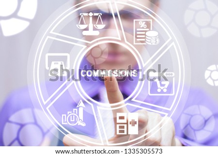 Man uses on a virtual screen of the future touching the word: commissions. Commission Financial Marketing Commerce Web concept. #1335305573