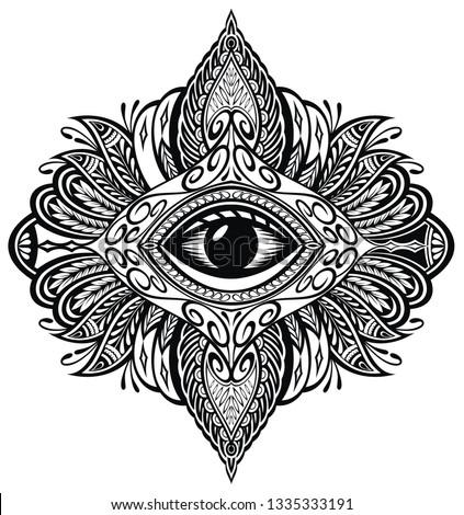Blackwork tattoo . Eye of Providence. Mandala with eye #1335333191