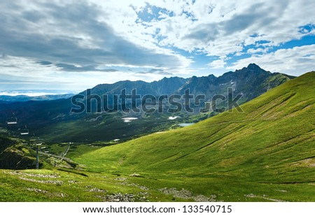 Tatra Mountain, Poland, view to Valley Gasienicowa, group of glacial lakes and Swinica mount #133540715