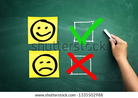 Be positive, choose to be positive, think to be positive. On the school board was checked emotion face  with a smile  #1335502988