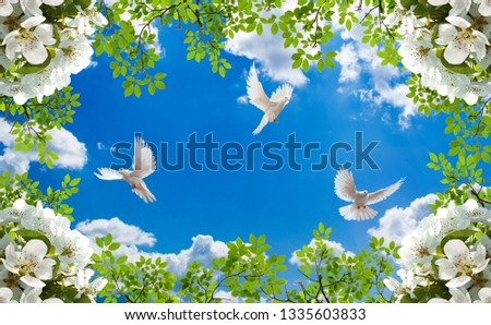 Sky background with happy doves and blended white and green flowers in the corners wallpaper