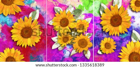 Collection of designer oil paintings. Decoration for the interior. Modern abstract art on canvas. Set of pictures with different textures and colors. yellow flowers on colorful background #1335618389