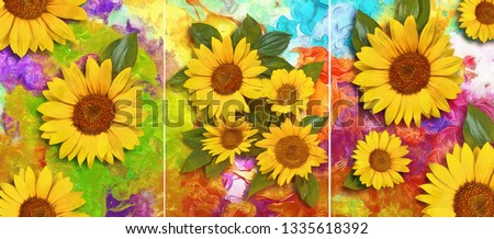 Collection of designer oil paintings. Decoration for the interior. Modern abstract art on canvas. Set of pictures with different textures and colors. yellow flowers on colorful background #1335618392