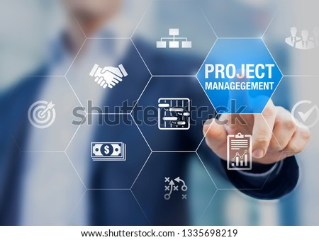 Professional project manager with icons about planning tasks and milestones on schedule, cost management, monitoring of progress, resource, risk, deliverables and contract, business concept Royalty-Free Stock Photo #1335698219