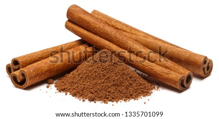 Cinnamon sticks and powder, isolated on white background #1335701099