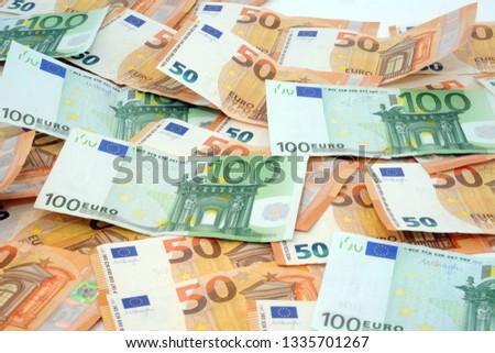 Euros - Money - euro cash background. Euro Money Banknotes #1335701267