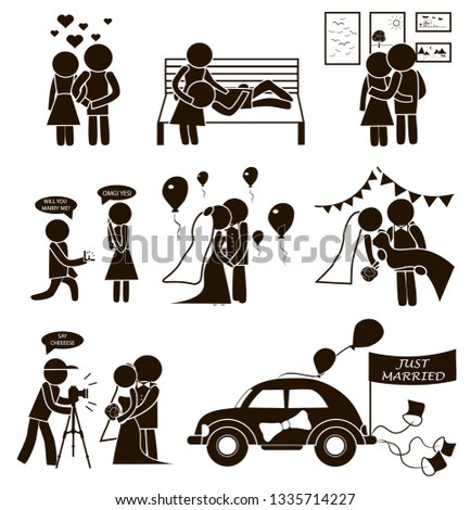 Wedding vector set stick figure Just Married. Man and woman love each other, go to art gallery, walk in the park. He make a proposal of marriage. Wedding photographer, car, decoration with balloons  #1335714227
