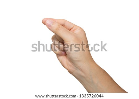 Man hand holding isolated on white background with clipping path. #1335726044