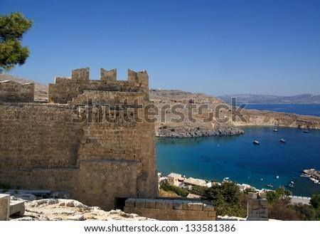 Linods Acropolis on Rhodos Ancient Archeological site, Greece #133581386