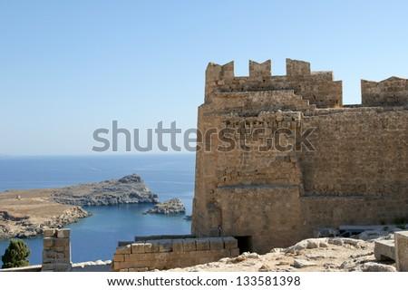 Linods Acropolis on Rhodos Ancient Archeological site, Greece #133581398