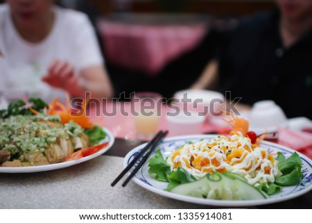 Taipei, Taiwan - Circa 2014: A beautiful plate of battered shrimp with mayo sauce on top.  #1335914081