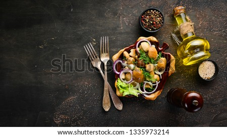 Marinated mushrooms with onions and spices in a plate. on rustic background, top view, banner. #1335973214