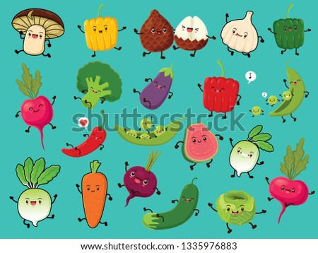 Vintage vegetable & fruit poster design set with vector mushroom, pepper, snake fruit, onion, radish, broccoli, egg plant, chili, pea, beetroot, carrot, cucumber, cabbage, apple guava characters. #1335976883