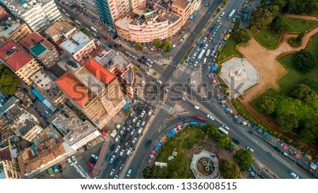 aerial view of the Dar es Salaam city in Tanzania #1336008515