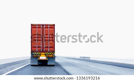 Back view of Truck on road with red container, transportation concept,import,export logistic industrial Transporting Land transport on the expressway.on white background #1336193216