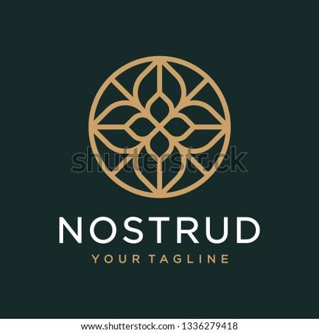Abstract flower swirl logo icon vector design. Elegant premium ornament vector logotype symbol. #1336279418